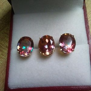 10K Orange Topaz Earrings